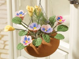 [DB] Hanging Basket - Pink & Yellow Pansies