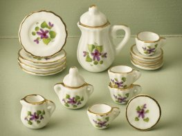 [DB] Ceramic Coffee Set - Violet Floral