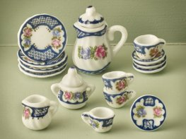 [DB] Ceramic Coffee Set - Blue Floral