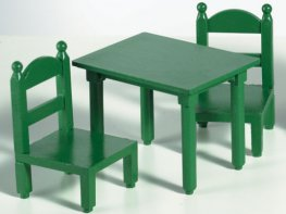 [SF] Green Square Table & Chairs (*)