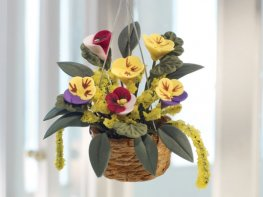 [DB] Hanging Basket - Yellow Pansies