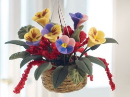 [DB] Hanging Basket - Purple & Yellow Pansies